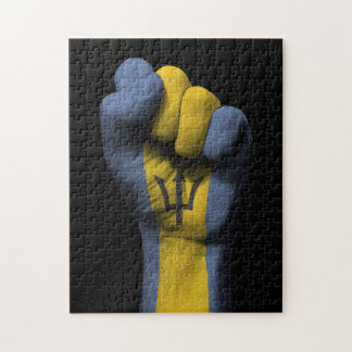 Raised Clenched Fist with Barbados Flag Jigsaw Puzzles