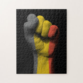 Raised Clenched Fist with Belgian Flag Jigsaw Puzzles