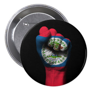 Raised Clenched Fist with Belize Flag 3 Inch Round Button
