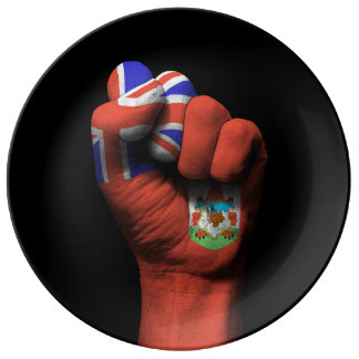 Raised Clenched Fist with Bermuda Flag Porcelain Plates