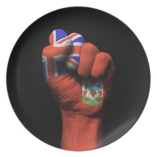 Raised Clenched Fist with Bermuda Flag Plate