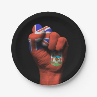Raised Clenched Fist with Bermuda Flag 7 Inch Paper Plate