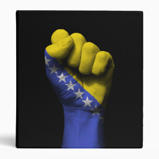 Raised Clenched Fist with Bosnian Flag 3 Ring Binder