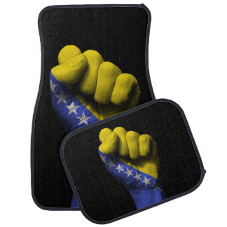 Raised Clenched Fist with Bosnian Flag Car Mat