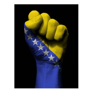 Raised Clenched Fist with Bosnian Flag Postcard