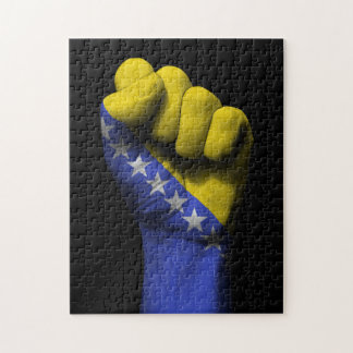 Raised Clenched Fist with Bosnian Flag Jigsaw Puzzle