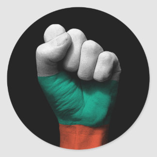 Raised Clenched Fist with Bulgarian Flag Round Sticker