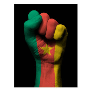 Raised Clenched Fist with Cameroon Flag Postcard