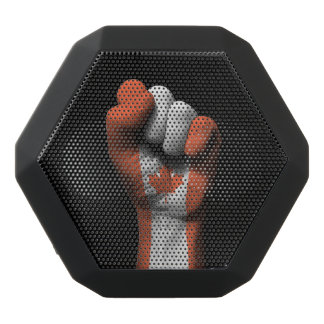 Raised Clenched Fist with Canadian Flag Black Bluetooth Speaker