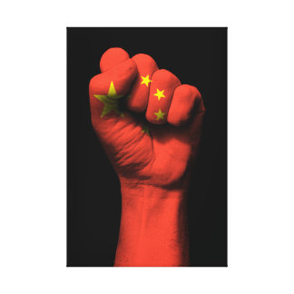 Raised Clenched Fist with Chinese Flag Canvas Print