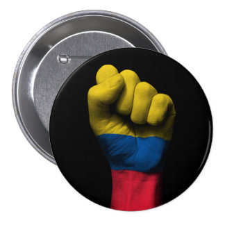 Raised Clenched Fist with Colombian Flag 3 Inch Round Button