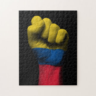 Raised Clenched Fist with Colombian Flag Jigsaw Puzzle
