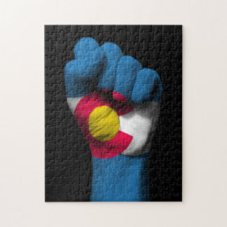 Raised Clenched Fist with Colorado Flag Jigsaw Puzzles