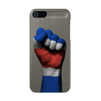 Raised Clenched Fist with Costa Rica Flag Metallic iPhone SE/5/5s Case