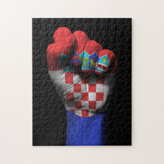 Raised Clenched Fist with Croatian Flag Puzzle