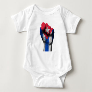 Raised Clenched Fist with Cuban Flag Baby Bodysuit