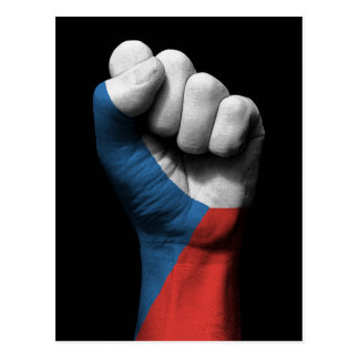 Raised Clenched Fist with Czech Flag Postcard