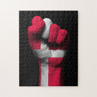 Raised Clenched Fist with Danish Flag Jigsaw Puzzles