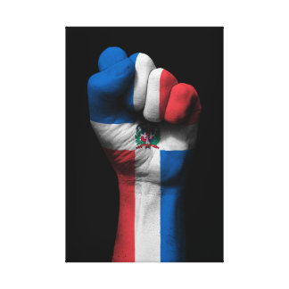 Raised Clenched Fist with Dominican Flag Canvas Print