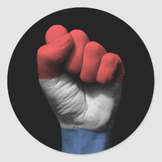 Raised Clenched Fist with Dutch Flag Round Sticker