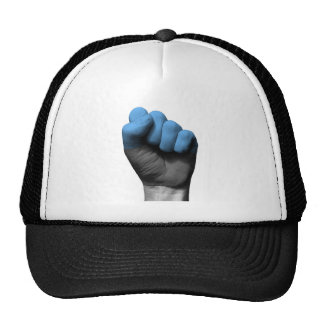 Raised Clenched Fist with Estonian Flag Trucker Hat