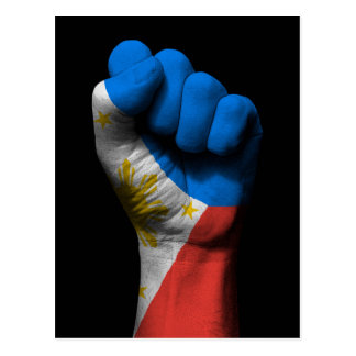 Raised Clenched Fist with Filipino Flag Postcard