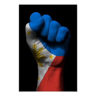 Raised Clenched Fist with Filipino Flag Poster