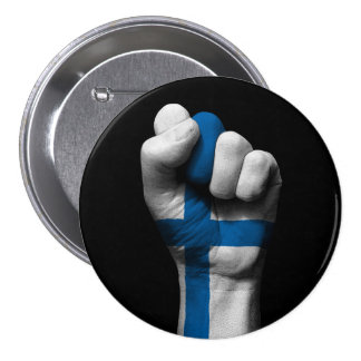 Raised Clenched Fist with Finnish Flag Pinback Button