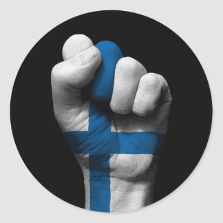 Raised Clenched Fist with Finnish Flag Round Sticker