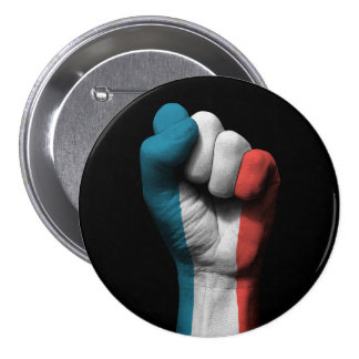 Raised Clenched Fist with French Flag Pinback Button