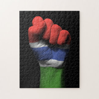 Raised Clenched Fist with Gambian Flag Jigsaw Puzzle