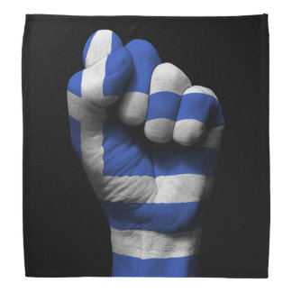Raised Clenched Fist with Greek Flag Bandana