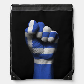 Raised Clenched Fist with Greek Flag Drawstring Backpack