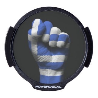 Raised Clenched Fist with Greek Flag LED Window Decal