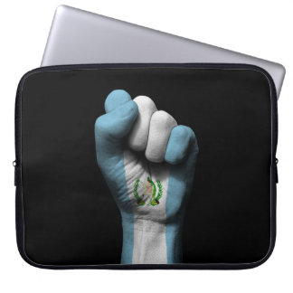 Raised Clenched Fist with Guatemalan Flag Laptop Sleeve