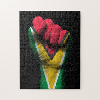 Raised Clenched Fist with Guyanese Flag Jigsaw Puzzle