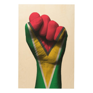 Raised Clenched Fist with Guyanese Flag Wood Wall Decor