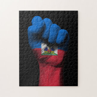 Raised Clenched Fist with Haitian Flag Puzzles