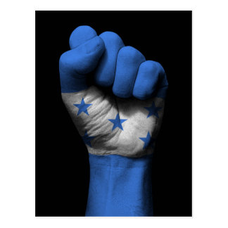 Raised Clenched Fist with Honduran Flag Postcard