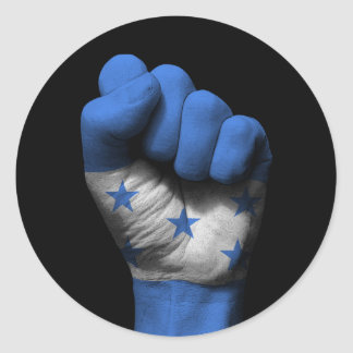 Raised Clenched Fist with Honduran Flag Round Sticker