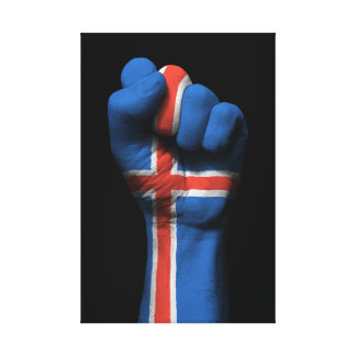Raised Clenched Fist with Icelandic Flag Canvas Print