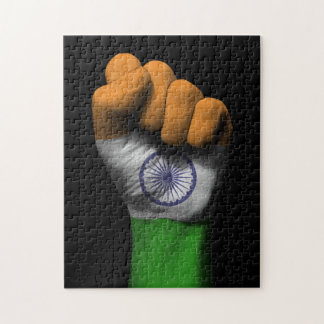 Raised Clenched Fist with Indian Flag Puzzles