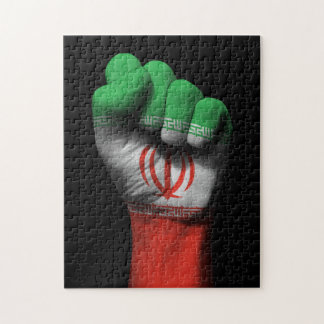 Raised Clenched Fist with Iranian Flag Jigsaw Puzzles