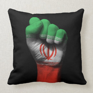 Raised Clenched Fist with Iranian Flag Throw Pillow