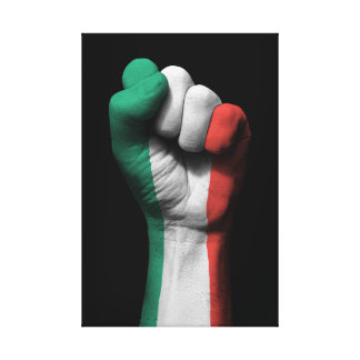 Raised Clenched Fist with Italian Flag Canvas Print