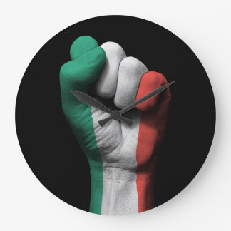 Raised Clenched Fist with Italian Flag Large Clock