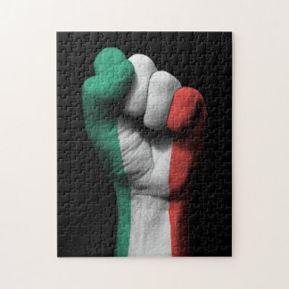 Raised Clenched Fist with Italian Flag Puzzle