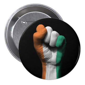 Raised Clenched Fist with Ivory Coast Flag 3 Inch Round Button