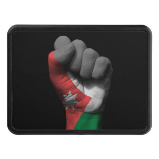 Raised Clenched Fist with Jordanian Flag Trailer Hitch Covers