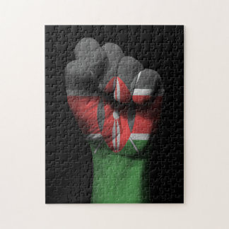 Raised Clenched Fist with Kenyan Flag Puzzles